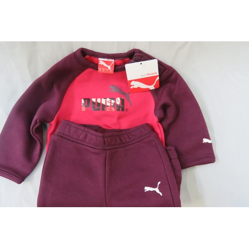 29 - Brand New Baby Puma Infant Crew Jogger Cerise-Purple - Size UK 2/4 months...