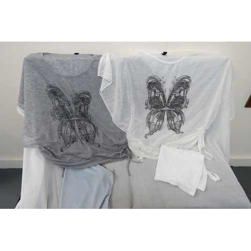 49 - 2 x White and Grey butterfly tops with camisoles by Jessica - Size M...