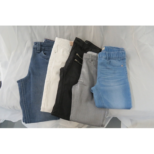 57 - 5 x pairs of girls jeans from Monsoon age 7-8, white jeans Age 9, Next jeans Age 7...