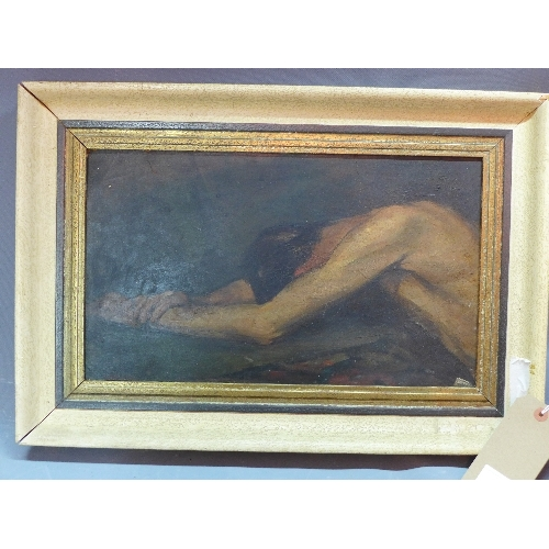 495 - Attributed to George Hendrik Breitner (Dutch, 1857-1923), male nude study, oil on board, bearing sig...