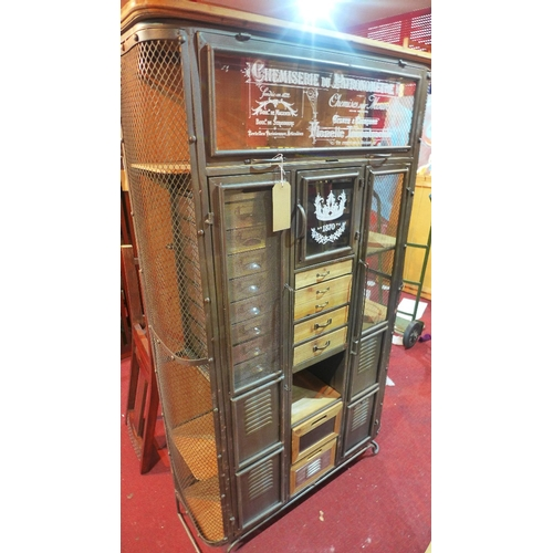 373 - A large Industrial haberdashery cabinet, H.165 W.98 D.32cm...