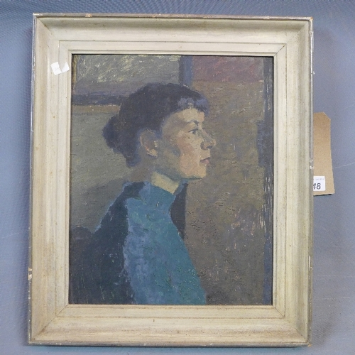 248 - Barbara Lilley, portrait study of a lady, oil on board, H.32 W.35cm...