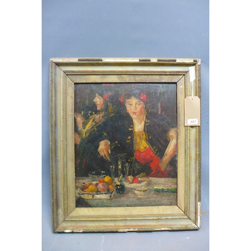 357 - 19th Century Continental School, portrait of a Spanish lady, oil on canvas, monogrammed lower right,...