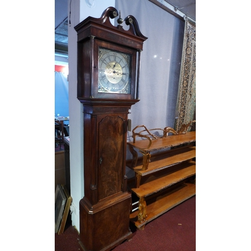 43 - A George III mahogany longcase clock by Hodgson, Preston, c.1760s, the brass dial with painted chapt...