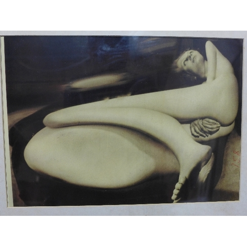 49 - A surrealist image of a distorted female nude numbered in red upon the image....