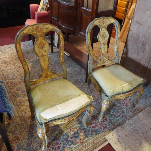382 - A pair of 19th century Dutch chairs, hand painted with flowers, raised on cabriole legs...