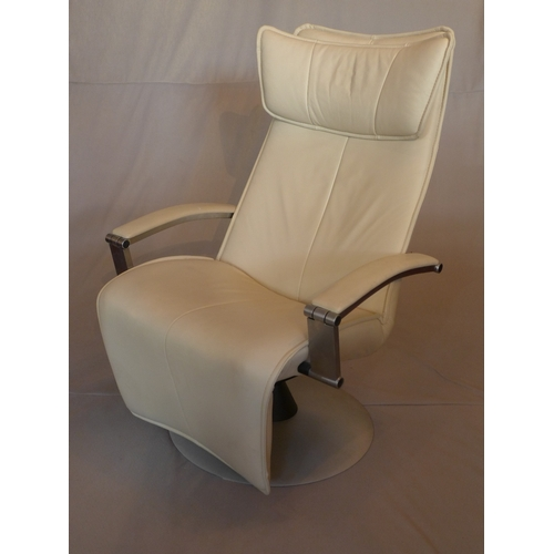 1041 - A contemporary Gravity cream leather reclining armchair, on circular base, H.115cm...