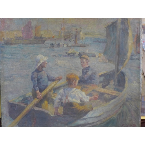 36 - Early 20th century French School, boys rowing a boat, oil on canvas, indistinctly signed lower right...