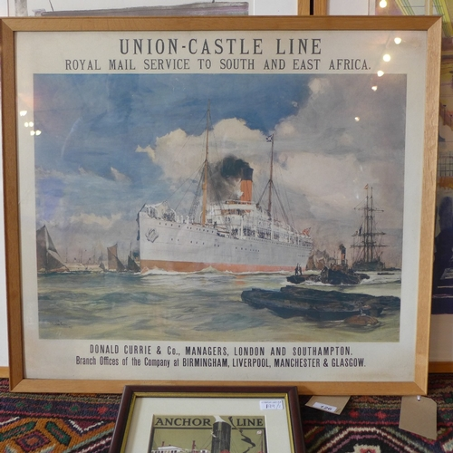 199 - A printed poster for 'Union - Castle Line, Royal Mail Service to South and East Africa', 61 x 71cm, ...