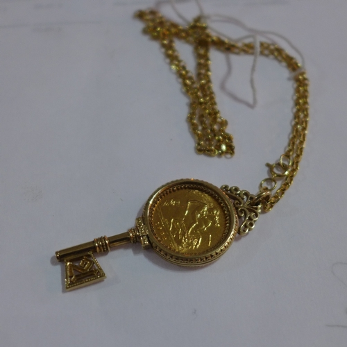 3 - An Elizabeth II 1982 gold half sovereign, mounted in 9ct yellow gold key pendant, on a 9ct yellow go...