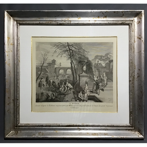188 - Antoine Watteau (French, 1684-1721), 'The Four Seasons', set of four engravings, annotated to lower ...