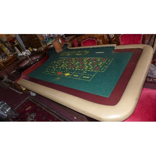 223 - A professional casino Roulette table by TCSJOHNHUXLEY, with Roulette wheel, approx. diameter 80cm, H...