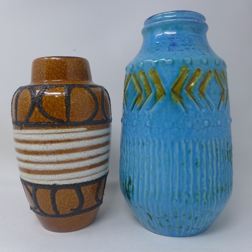 37 - Two West German pottery vases; one brown glazed, H.22cm; the other turquoise glazed, H.26cm (2)...
