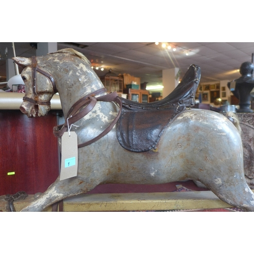 1 - A Lines Bros. Ltd Sports Boy rocking horse, c.1930's, with rare saddle design, bears maker's mark, H...