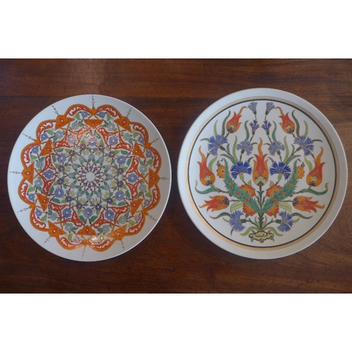 11 - A pair of Turkish Iznik style plates, signed by Sumerbank, 1993, with enamel and gilt decoration, D....