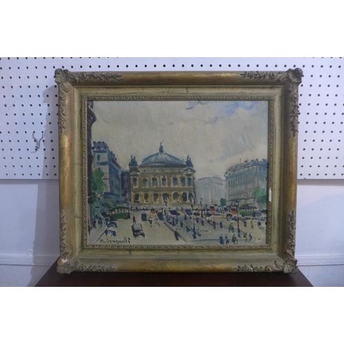 173 - M. Spagnolli, 'Paris, Place de L'Opeza', cityscape, oil on canvas, signed lower left, 38 x 50cm...
