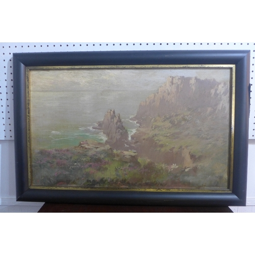 28 - John Baragwanath King (1864-1939), a landscape study of cliffs over the sea, oil on canvas, signed l...