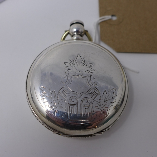 1030 - A late 19th century silver coin pocket watch, white enamel dial with Roman numerals, subsidiary seco...