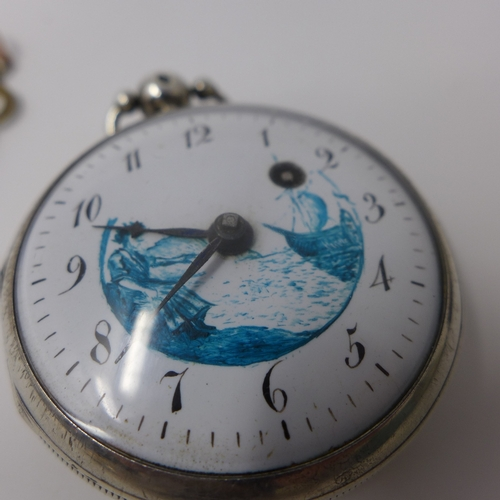 1032 - A silver verge pocket watch, fusee movement signed Berthoud A Paris, white enamel dial with Arabic n...