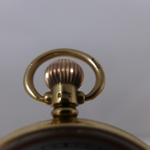 1034 - A 9ct yellow gold open face pocket watch, fully jewelled movement, swan neck regulator, white enamel...
