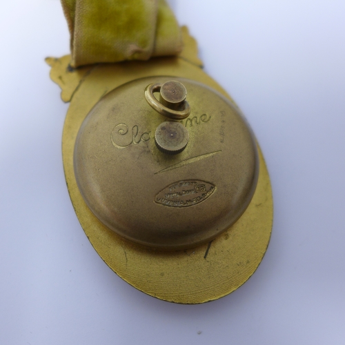 1039 - A Juvenia gold plated and enamel fob watch, movement by Paul Ditisheim, guilloche enamelled dial wit...