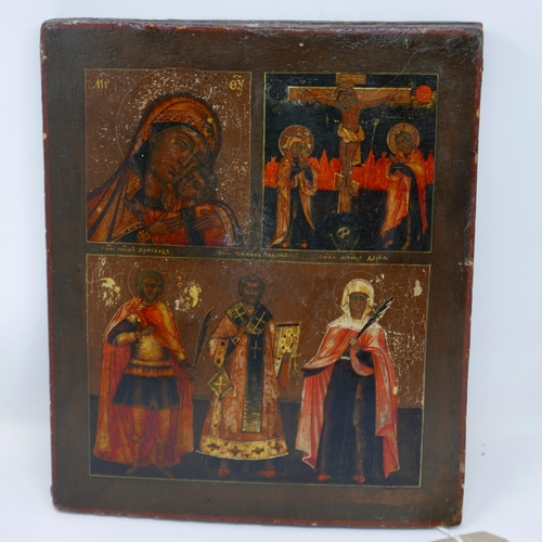 34 - A Russian icon in three registers, depicting the Mother of God of Korsun, the Crucifixion of Christ,...