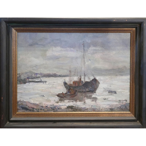 37 - A late 20th century Russian school oil on canvas, ships at shore, signed and dated '81, 49x69cm...