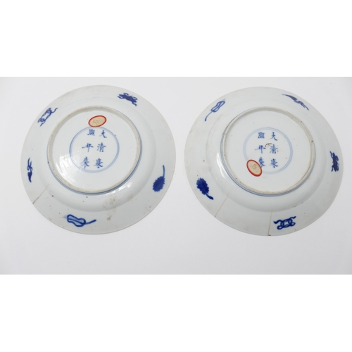 1001 - A pair of Chinese Kangxi period blue and white plates, vase of flowers decoration, Diameter 16cm (bo...