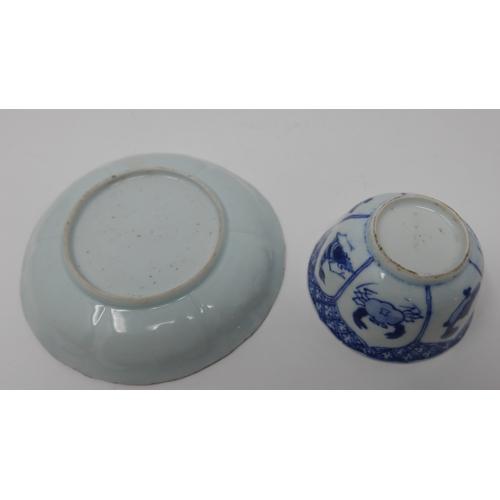 1020 - An 18th century Chinese blue and white impressed lotus dish, crab, shrimp, fish design, Diameter 12c...
