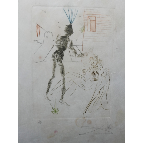 12 - Salvador Dali (Spanish, 1904-1989), two figures in a Surrealist scene, drypoint etching, signed in p...