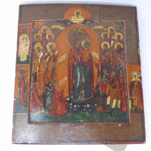 15 - A Russian icon, the Mother of God, Joy to all who Grieve, tempera on wood panel, 35 x 31cm...