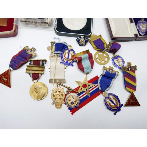 20 - A collection of 20th century medals, old bank notes and coins to include 6 silver-gilt and coloured ...