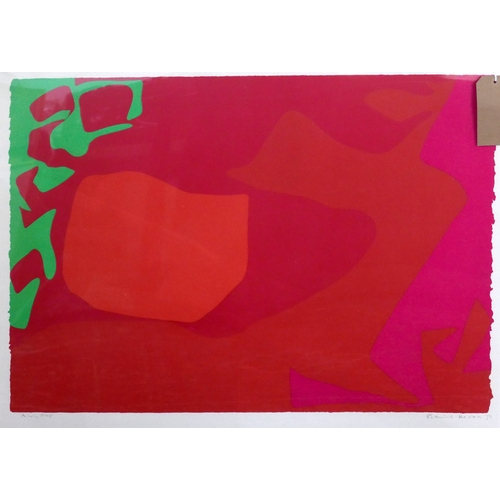 4 - Patrick Heron screen print, original edition 72, plate 1, green, red and pink organic shapes...