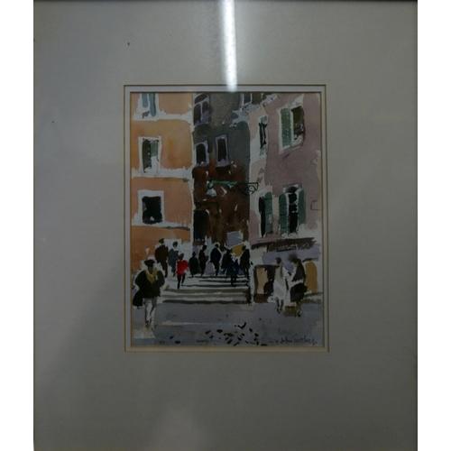 59 - John Tookey (British, b.1947), street scene, watercolour, signed in pencil lower right, 22 x 16cm, t...