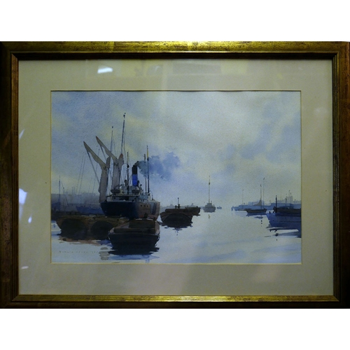 65 - Gordon Hales (British, 1916-1997), 'The Port of London', watercolour, signed and dated 1950 lower le...