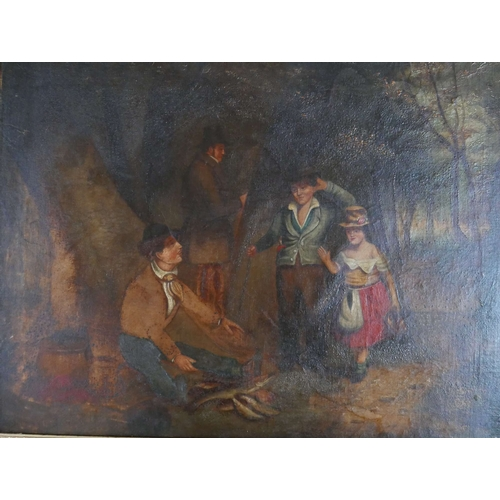 45 - Late 19th century school, A fish seller on a woodland path, oil on canvas laid down, 41 x 59cm...