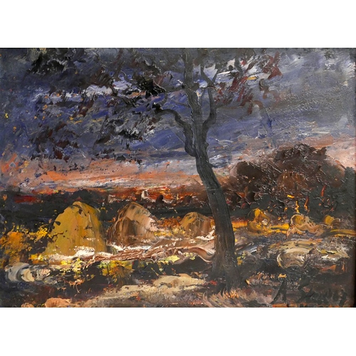 59 - A. Steel (b.1915), Nocturnal Landscape, signed lower right, oil on panel, 28 x 38...