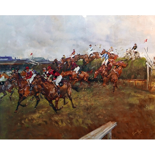 57 - A large framed and glazed, colour print of horseracers, Aintree, indistinct signature bottom right h...