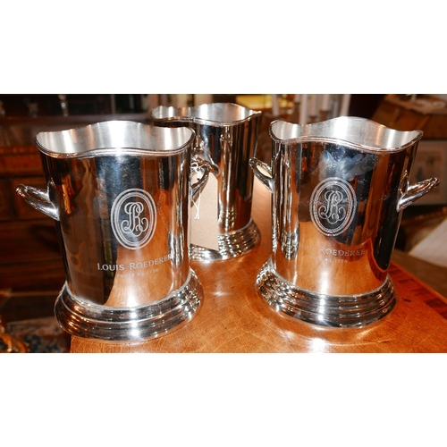 28 - A set of three vintage style chrome wine coolers, H.23cm (3)...