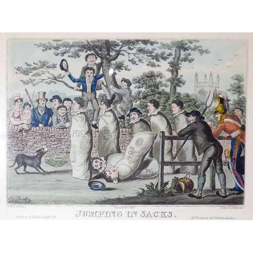 6 - Four 19th century coloured prints of political cartoons...