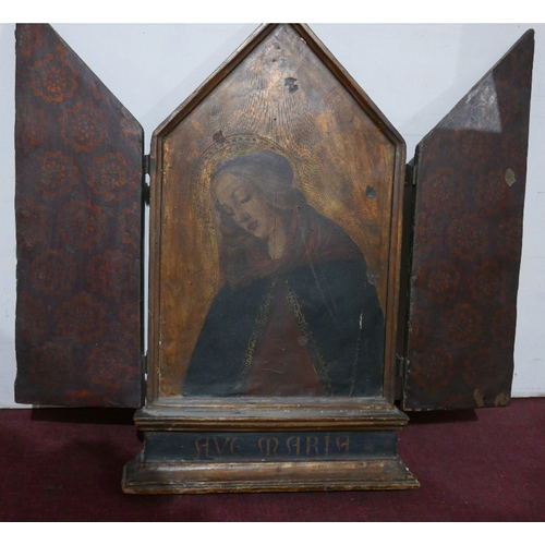 43 - A large Italian icon of the Mother of God, in cast metal bound frame inscribed 'Ave Maria' to steppe...