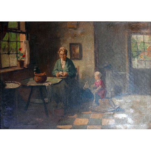 60 - A. Van Brederoder (Early 20th century Dutch school), Old Dutch Interior Scene with Mother and her Ch...