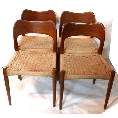 112 - A set of four mid 20th century Danish MK craftsmanship teak dining chairs, with rush seats...
