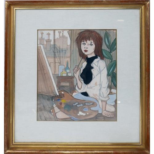 16 - Phillipe. H. Noyer, (French, 1917-1985),'La Jeune Artiste', watercolour, 25 x 20cm...