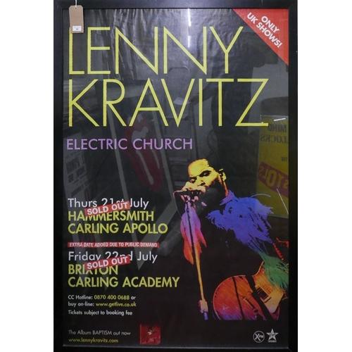 20 - An original vintage poster for Lenny Kravitz's Electric Church Tour, framed and glazed, 147 x 98cm...