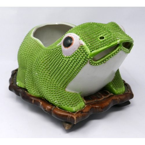48 - A large 19th century Chinese export porcelain lucky frog planter on fitted lily pad carved wood stan...