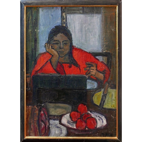 53 - 20th century school, a lady reading a book on a stand, oil on board, indistinctly signed lower right...