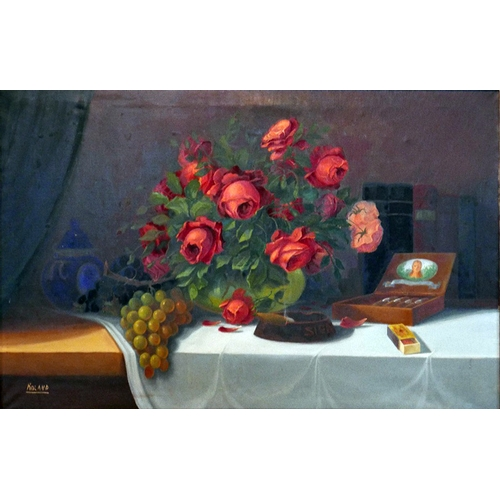 62 - Mid 20th century Continental school, Still life study of roses, grapes, matches, cigar and ashtray, ...