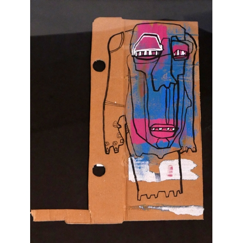 236 - Cyclops, street artist, mixed media on cardboard, details to verso, 38 x 20cm...