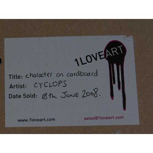 236 - Cyclops, street artist, mixed media on cardboard, details to verso, 38 x 20cm...
